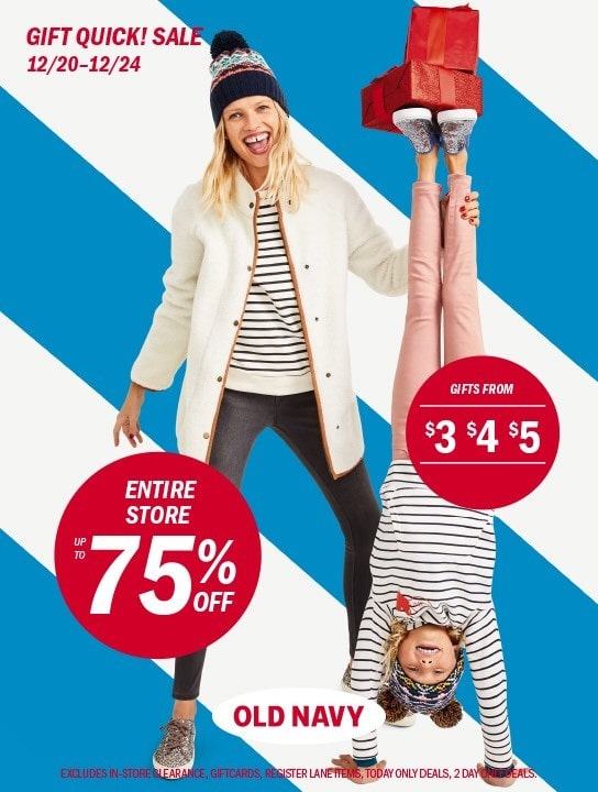 Old Navy Holiday 2017 Dec 20th thru Dec 24th Campaign