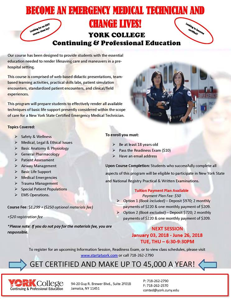 York College Continuing & Professional Education: Emergency