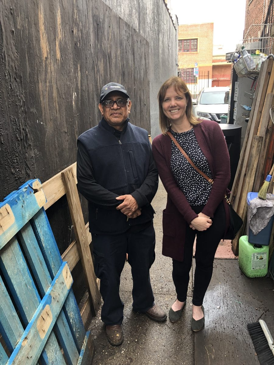 Executive Director, Jennifer Furioli standing with the BIDs StreetPlus worker Emiliano.