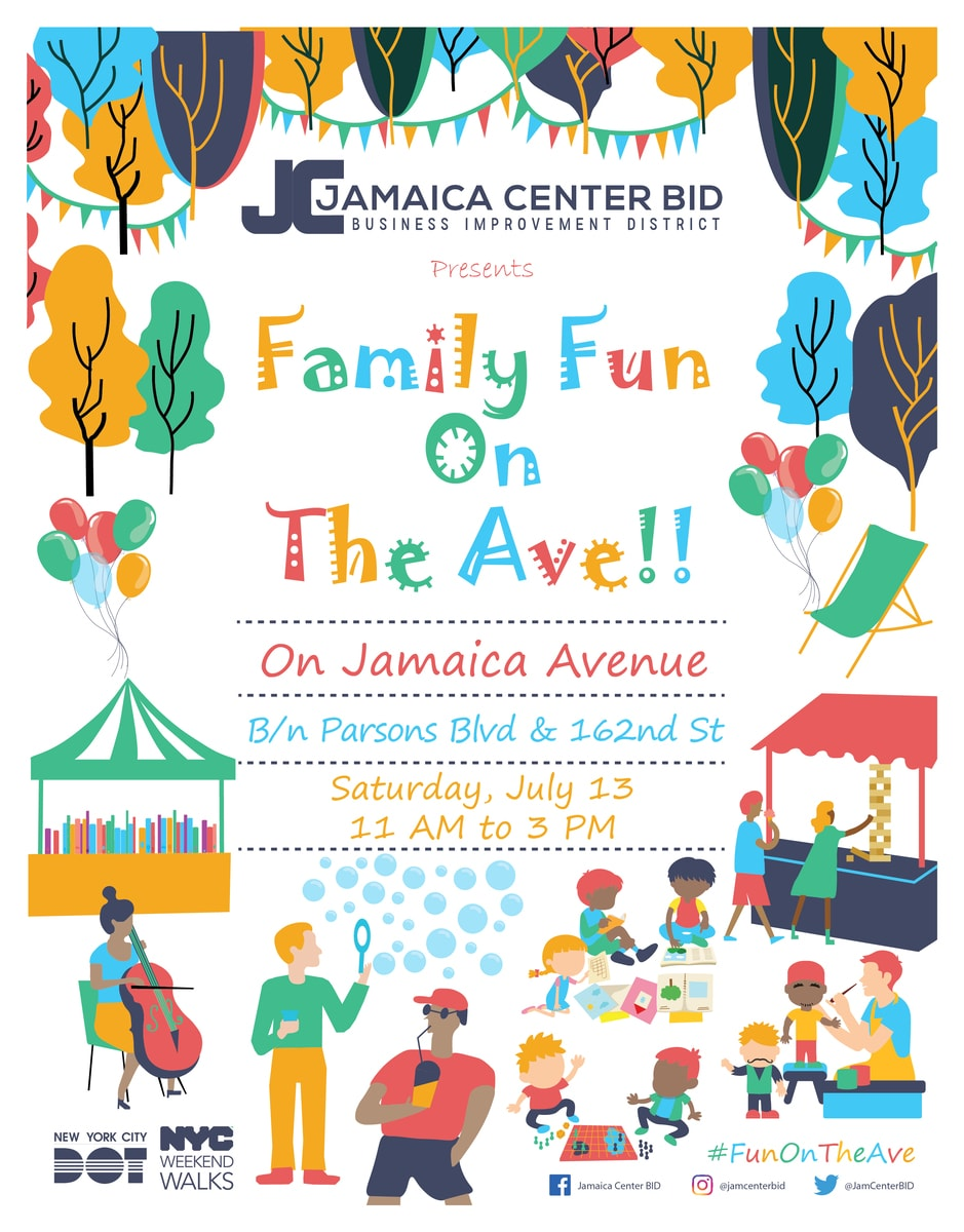 Family Fun On The Ave Event Flyer